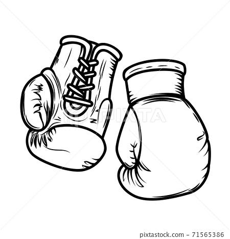 Illustration of boxing gloves. Design elements for logo, label, sign, menu. 71565386