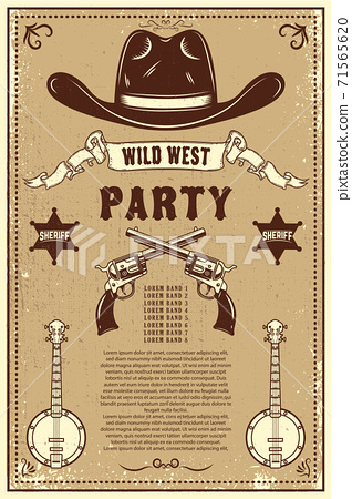 Country music festival poster template. Cowboy hat with crossed revolvers. Wild West theme. Design element for poster, card, banner, flyer. 71565620
