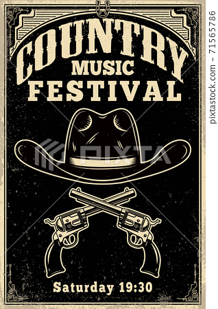 Country music festival poster template. Cowboy hat with crossed revolvers. Wild West theme. Design element for poster, card, banner, flyer. 71565786