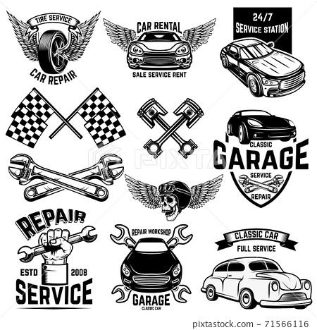 Set of car service station emblems and design elements. For logo, label, sign, banner, t shirt, poster. 71566116