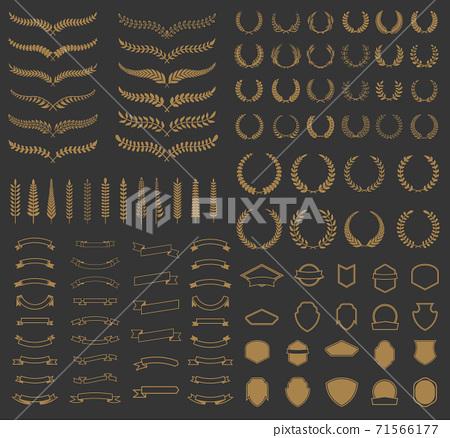Set of vector wreaths and branches. Design elements for logo, label, emblem, badge, sign. 71566177