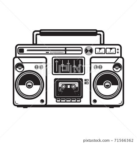 boombox illustrations on white background. Design element for logo, label, emblem, sign, badge, poster, t shirt. 71566362