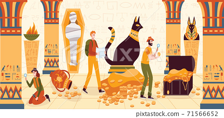 Men and women explore the Egyptian pyramid from the inside-vector illustration. 71566652