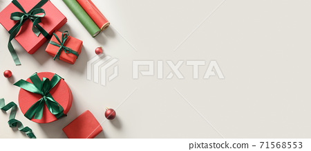 Christmas background with red and green gift box. 71568553