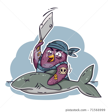 Crazy pirate penguin cuts a shark with a cleaver. Cook on the ship cooking fish. Funny bird vector illustration isolated on white background in doodle style. 71568999