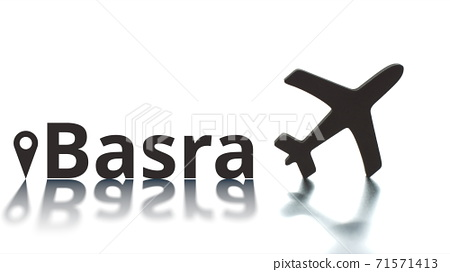 Basra text, geotag and airplane silhouette, air transport concept 71571413