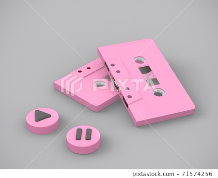 audio music retro cassette tapes on pink color , 3d rendering.. 71574256