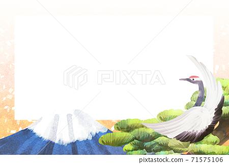 학과 후지산과 소나무 일러스트, 연하장 71575106