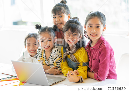 Group of kid, technology 71576629