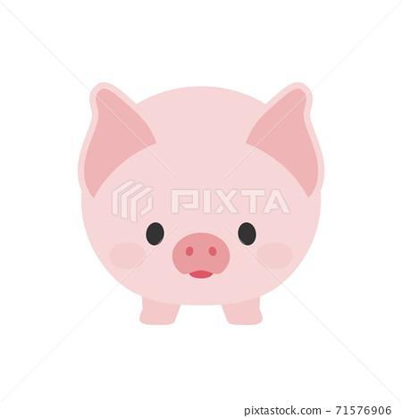 可愛的粉紅色豬:白色背景,前-飲食,儲蓄,豬肉圖像圖素材 71576906