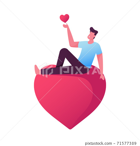 Male Character in Love Dreaming, Man Holding in Hands and Sitting on Heart. Happy Lover, Valentines Day, Dating, Romance 71577389