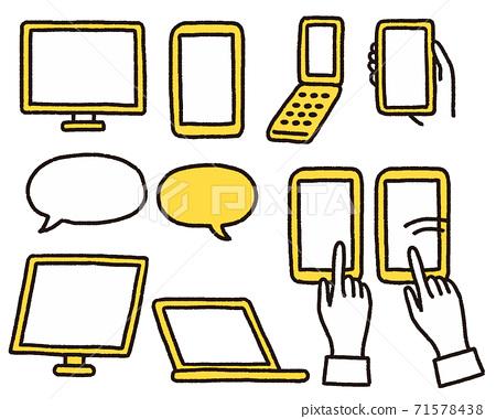 一組手繪風格的智能手機,平板電腦和計算機 71578438