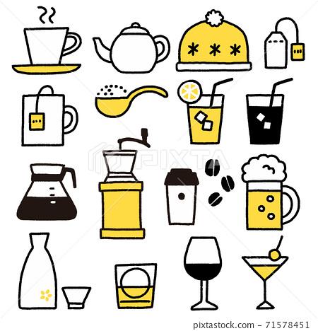 차와 술 등 여러가지 음료 아이콘 세트 손으로 그린 바람 71578451