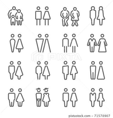 Toilet, Restroom icon illustration vector set. Contains such icon as WC door, couple, men, women, gender and more. Expanded Stroke 71578907