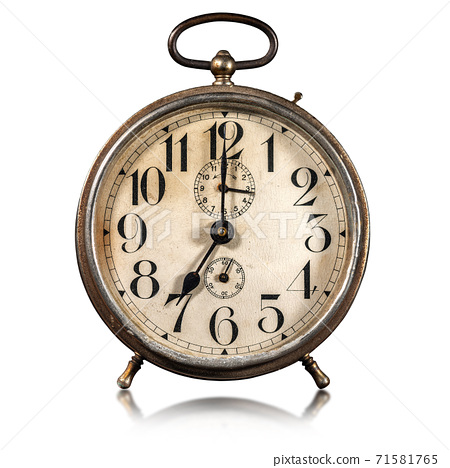 Old Alarm Clock Isolated on white Background - Seven o'clock 71581765