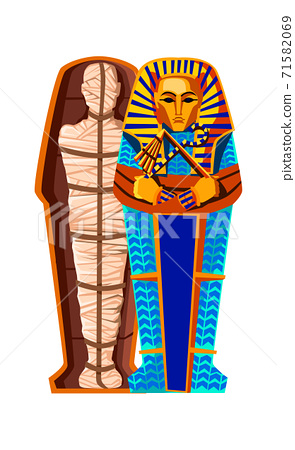 Mummy in sarcophagus cartoon illustration 71582069