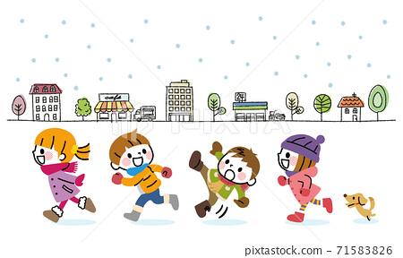 Winter children running streets 71583826