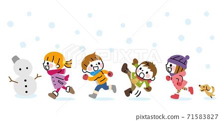 Winter children running snow 71583827