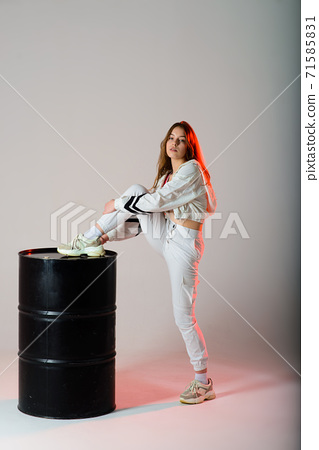 Teenage female dancing hip-hop in studio, casual clothes 71585831