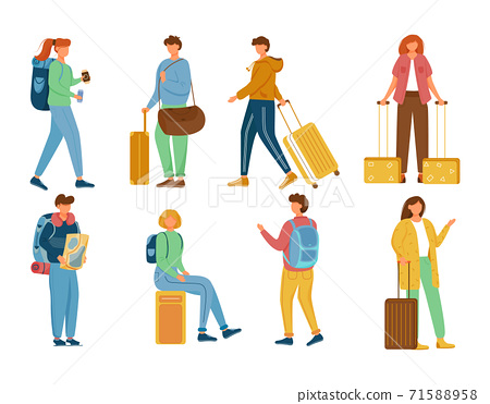 Travellers flat vector illustrations set. Vacation trip. Holiday journey. Standing, sitting full body caucasian people with backpacks and suitcases. Tourists with luggage isolated cartoon characters 71588958