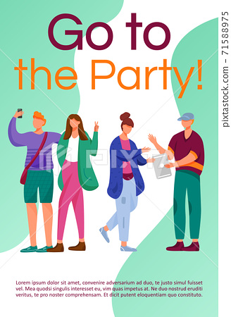 Go to the party brochure template. Teenager culture. Flyer, booklet, leaflet concept with flat illustrations. Vector page cartoon layout for magazine. Advertising invitation with text space 71588975