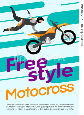 Freestyle motocross poster vector template. Extreme sport. Brochure, cover, booklet page concept design with flat illustrations. Motorcycle stunts. Advertising flyer, leaflet, banner layout idea 71590308