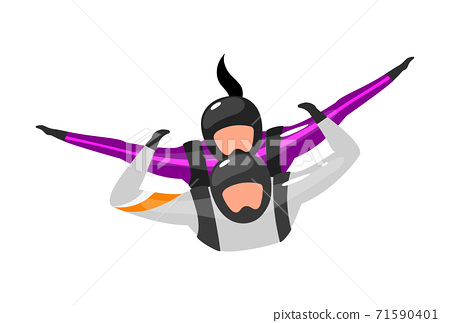 Tandem free-fall flat vector illustration. Skydiving with instructor. Extreme sports. Active lifestyle. Outdoor activities. Sportsman, sportswoman isolated cartoon character on white background 71590401