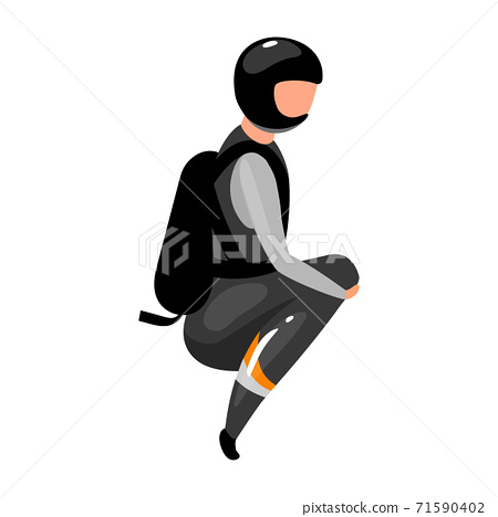 Speed skydiving flat vector illustration. Freefalling, skydiving, diving experience. Extreme sports. Active lifestyle. Outdoor activities. Sportsman isolated cartoon character on white background 71590402