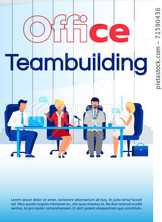 Office team building brochure template. Coworking courses flyer, booklet, leaflet concept with flat illustrations. Vector page cartoon layout for magazine. Business seminar advertising with text space 71590436