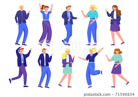 Dancing people flat vector illustrations set. Happy young men and women. Joyful students on holiday celebration. High school party event. Cheerful boys and girls isolated cartoon characters 71590834