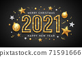 2021 Merry christmas and Happy New Year, gold neon light banner design on black background 71591666
