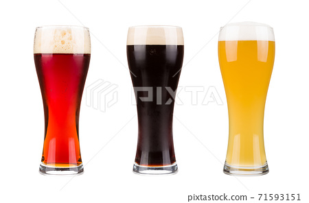 Beer glasses set dark, lager and red isolated on white background 71593151