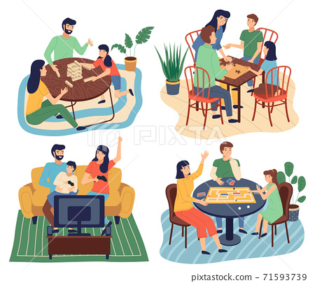 Families spend time together, play board games, assemble a puzzle, solve puzzles. Flat vector image 71593739