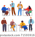 Business characters working in office workplace flat design. Co working people, meeting teamwork 71593916