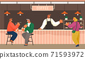 Cafe shop modern illustration. People have a good time, rest, chat. Barista takes order from girl 71593972