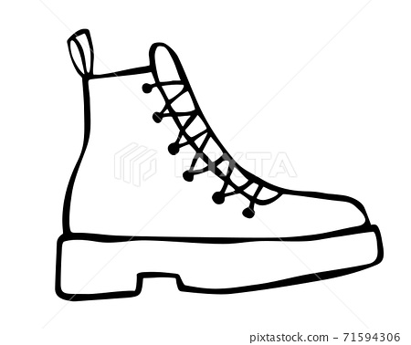 Doodle fashion cowboy boot hand drawn in line art style 71594306