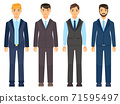 Business man clothes. Young men in office clothes vector illustration. Dress code for male character 71595497