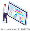 Businessman makes a presentation of a statistical report. Analysis and planning business concept 71595509