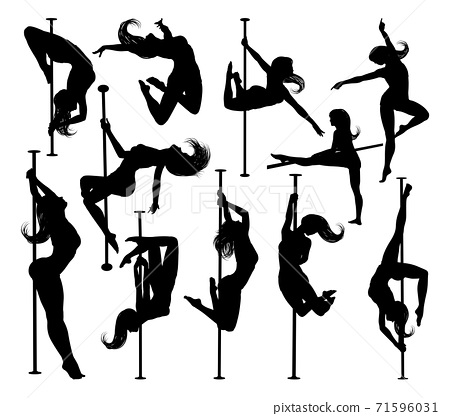 Pole Dancing Women Silhouettes Set 71596031