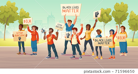 People hold banners with black lives matter 71596650