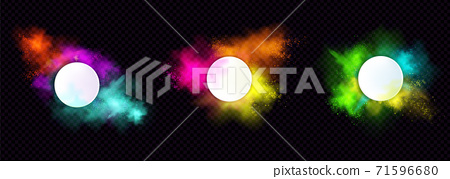 Powder Holi paints round frames colorful clouds 71596680