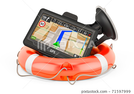 GPS navigation device with lifebelt, 3D rendering 71597999