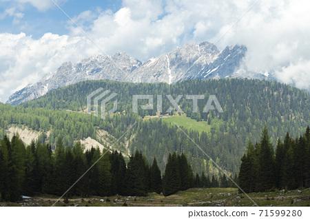 Mountain pass Sella di Rioda, Alps, Italy 71599280