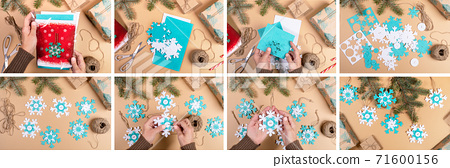 DIY instruction. Step by step tutorial. Making Xmas toy snowflake of felt on beige background. Collage of eight photos. Top view, flat lay. 71600156