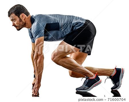 man runner jogger running jogging isolated shadows 71600704