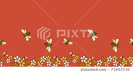 Pollinators Bees and flowers horizontal border seamless repeat Vector on red background 71603530