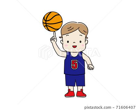 男孩穿制服,打籃子 71606407