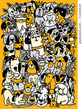 Hand draw,doodle dogs group, Different species of dogs , Vector Illustration 71606884