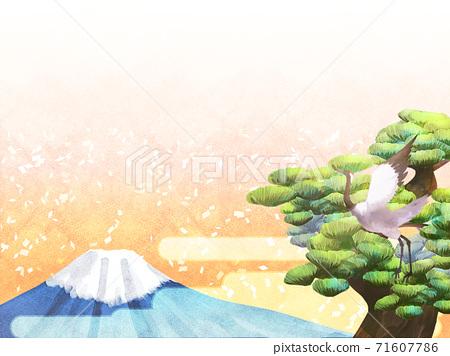 소나무와 후지산의 배경 일러스트 71607786