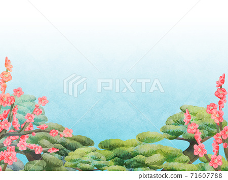 매화와 소나무 일러스트, 수평 71607788